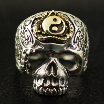 Original Oriental vibrations Tai Chi dragon Skeleton ring