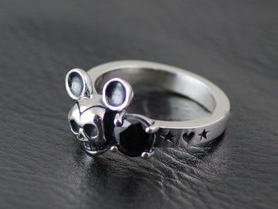 Japan import, 925 Sterling Silver Retro style Mickey skeleton Silver Gothic Ring