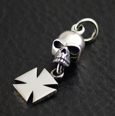 cross medal and lively skull 925 Sterling Silver import Gothic Silver pendant
