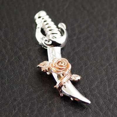 Japan import, Machete and rose 925 Sterling Silver pendant