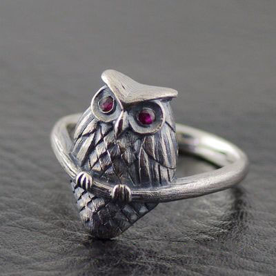 Japan import, 925 Sterling Silver owl female Silver Gothic Ring