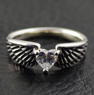 925 Sterling Silver white diamond angel wings import Silver Gothic Ring, tail ring