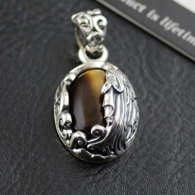 Japan import, Original GV-Religious theme Tiger eye stone 925 Sterling Silver holy mother pendant