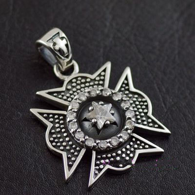 Japan import, set with diamonds metal cross medal Gothic Silver pendant