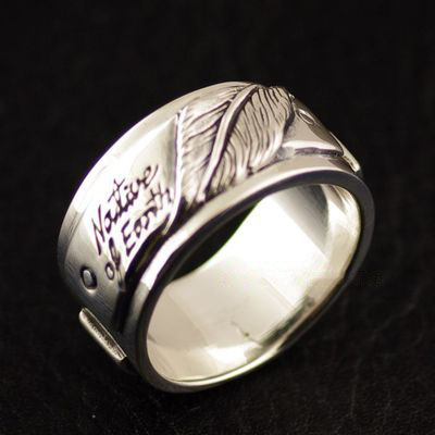 Japan import, Male Design thick and heavy 925 Sterling Silver simple feather Ring