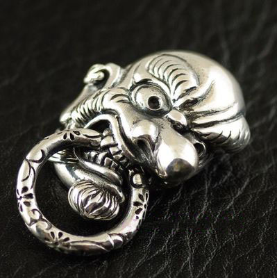 Japan import, lively Relief 925 Sterling Silver Japan Tengu Great God clip, DIY wallet clip