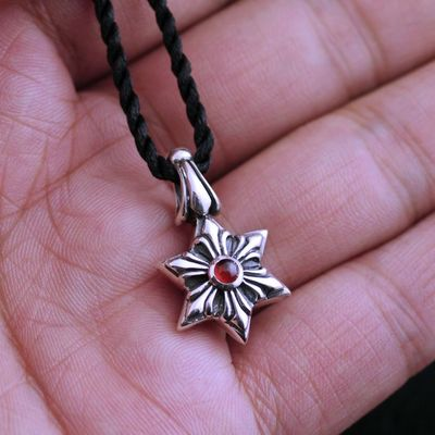 925 Sterling Silver double side set with garnet Hexagram import Gothic Silver pendant