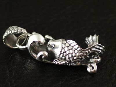 Japan import, 925 Sterling Silver flying carp fish Gothic Silver pendant