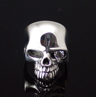 Import Gothic Silver, 925 Sterling Silver CRAZY PIG design one-eye Skeleton ring