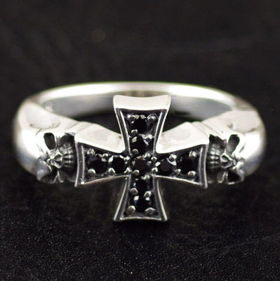 black diamond cross medal double skeleton Silver Gothic Ring, import Silver Gothic Ring