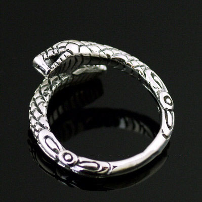 origin Japan import, 925 Sterling Silver open dual head snake tail Ring, pinkie ring, open Ring
