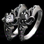 Japan import hollow florial princess cut import Gothic Silver couple ring