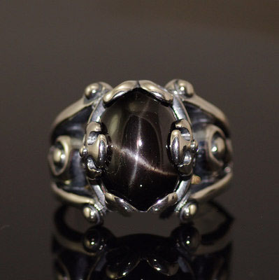 Japan import, star stone ring surface Silver Gothic Ring