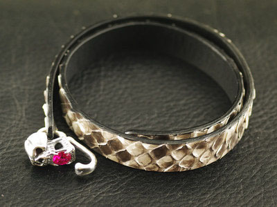 Japan import, 925 Sterling Silver skeleton silver clip natural snake skin Bracelet