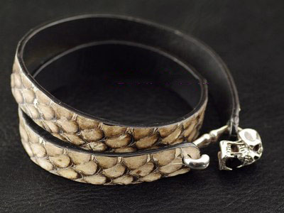 Japan import, 925 Sterling Silver skeleton silver clip natural snake skin male Bracelet
