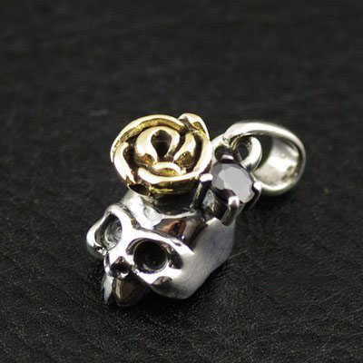 925 Sterling Silver cute cartoon little skeleton Golden rose flower import Gothic Silver pendant