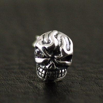 925 Sterling Silver STARLINGEAR one-eye solid skeleton import Gothic Silver earstud