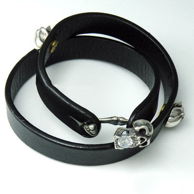 925 Sterling Silver skeleton silver clip black natural leather Bracelet (white diamond version)