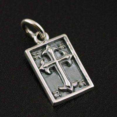 925 Sterling Silver import Gothic Silver Gothic Style cross small Pendant square pendant