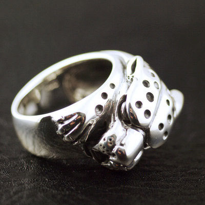 Japan import, 925 Sterling Silver cheetah Silver Gothic Ring Ring