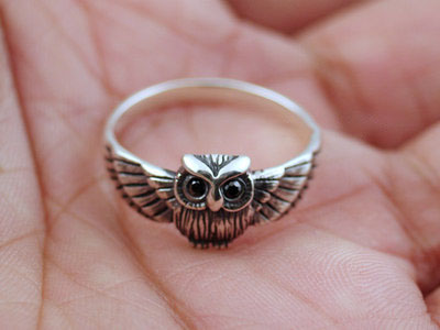 Japan import, 925 Sterling Silver cute owl female Silver Gothic Ring