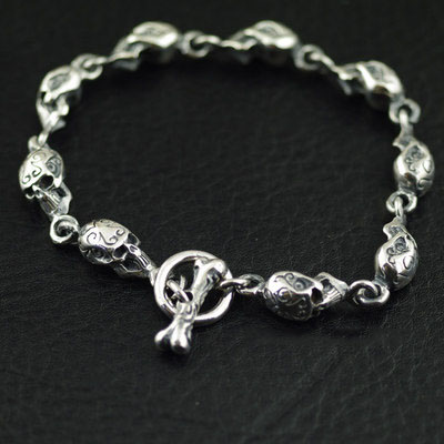 Japan import, 925 Sterling Silver CRAZY PIG fully skeleton Gothic Silver Bracelet, Unisex