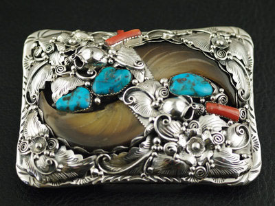 Japan import, set Eagle claws Indiana style 925 Sterling Silver leather buckle