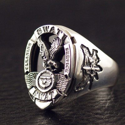 Japan import, America Los Angeles S. W. A. T special OPS team medal 925 Sterling Silver Gothic Ring
