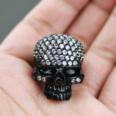 Japan import, Vivienne Westwood fully Black fully set with stone Skeleton ring