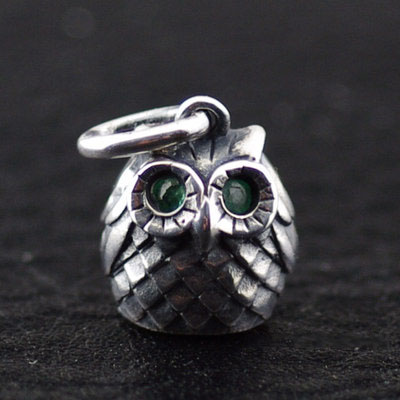 female pendant 925 Sterling Silver owl Gothic Silver pendant