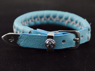 Japan import, cross medal 925 Sterling Silver buckle baby blue leather Bracelet