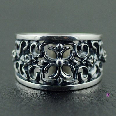 Japan import, 925 Sterling Silver Gothic Style hollow Cross floral design Silver Gothic Ring