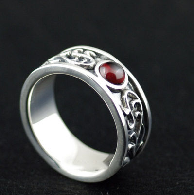 Japan import, 925 Sterling Silver Arabesque flower vine design Male Design Silver Gothic Ring