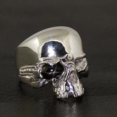 925 Sterling Silver one-eye skeleton import Silver Gothic Ring