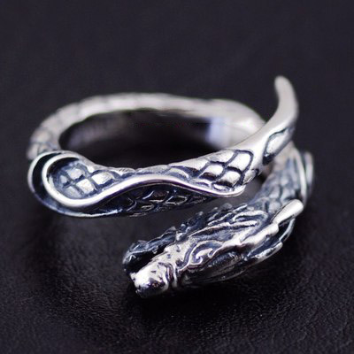 925 Sterling Silver import dragon head open Ring Gothic Silver tail ring Silver Gothic Ring