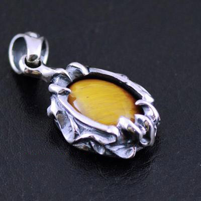 Japan import, Gothic Style Male Design Tiger eye stone Gothic Silver pendant