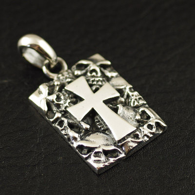 925 Sterling Silver disperse evil cross skeleton import male Gothic Silver pendant