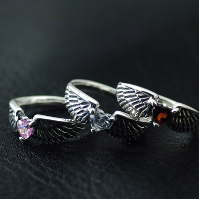 Japan import, 925 Sterling Silver Hearts and crystals Angels Wings Female Design Silver Gothic Ring