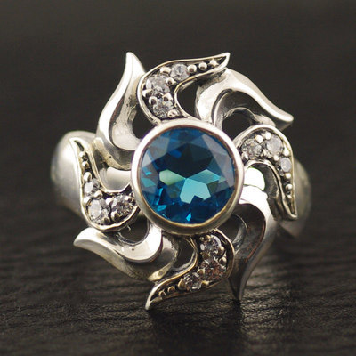 925 Sterling Silver blue radiance fire wheel import Silver Gothic Ring