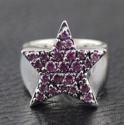 Import Silver Gothic Ring JUSTIN DAVIS Pink fully set with stone 925 Sterling Silver star Ring