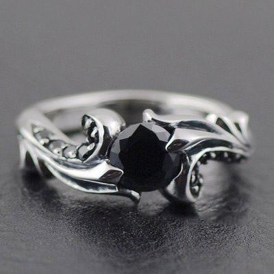 Japan import, 925 Sterling Silver wave black diamond Silver Gothic Ring