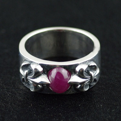 Japan import, natural Red corundum ring surface flower anchor design Silver Gothic Ring