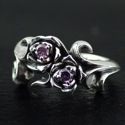 925 Sterling Silver pink, purple double diamond import Gothic Silver rose Ring