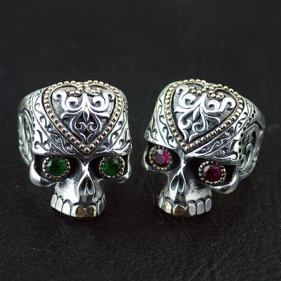 Japan import, 925 Sterling Silver skull blood flashy skeleton Silver Gothic Ring