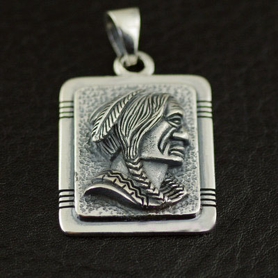 925 Sterling Silver Indiana chief head male import Gothic Silver pendant