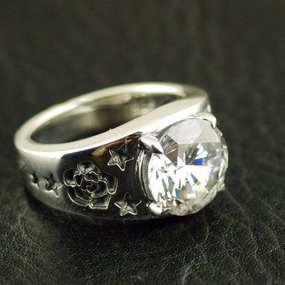 Japan import, shiny zirconia ring surface rose engrave Silver Gothic Ring