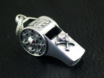 Japan import, 925 Sterling Silver punk skeleton big whistle pendant
