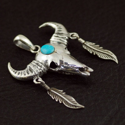 Indiana style, 925 Sterling Silver set with green Turquoise bull head skeleton Gothic Silver pendant