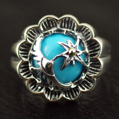 Japan import, Indiana style sun with male Eagle 925 Sterling Silver Gothic Ring
