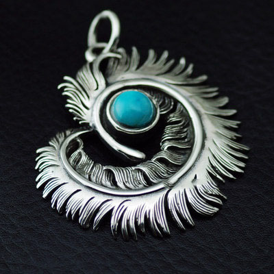 GORO style set with green Turquoise twisted feather import 925 Sterling Silver pendant